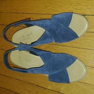 Navy blue Mila Paoli suede wedge sandals, 8.5
